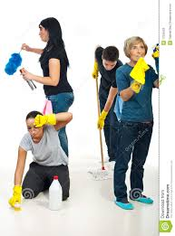 people teamwork work to cleaning house stock photos image 17226423