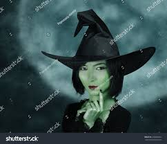 halloween full moon photography background beautiful witch green skin on background stock photo 220084264