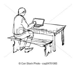 vector of man working at a laptop at the table a sketch of a man