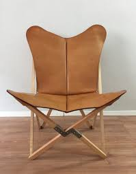 tripolina butterfly chair premium leather and wood folding