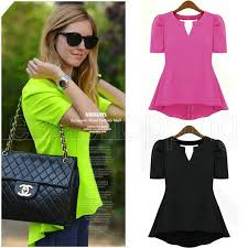 s fitted blouses discount wholesale q546 peplum waisted tops v neck