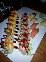 canape firr mango rolls w white tuna salmon and tamago
