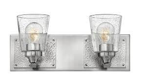 Vanity Light Shades Nickel 2 Light Bathroom Vanity Light With Seedy Clear Glass Shades