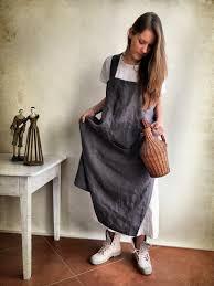 Custom Aprons For Women Linen Pinafore Apron Linen Apron Long Pinafore Woman