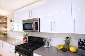 Contemporary White High Gloss Foil Kitchen Cabinets Contemporary - Kitchen cabinets austin