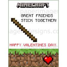 minecraft valentines cards minecraft valentines day cards 2 for 5 00 valentines day cards