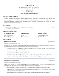 Sample Of Resume For Mechanical Engineer by Manufacturing Engineer Resume Example Mechanical Engineering