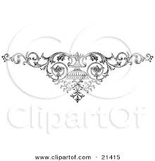clipart illustration of an ornamental scroll with vines on a