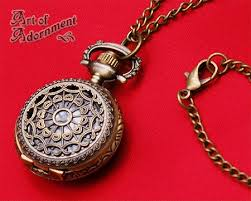 pocket watch chain necklace images Steampunk antique brass pocket watch pendant necklace art of jpg