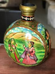 Home Decor From India Hand Painted Metal Vase From India Stand Alone Pot Home Decor