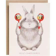 rabbit birthday bunny with maracas birthday card paper source
