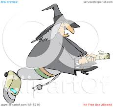 clipart of a chubby halloween witch flying on a vacuum royalty
