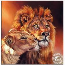 diy 5d diamond painting cross stitch kits lion king u0026 queen home