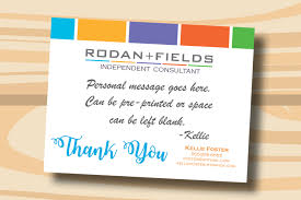custom rodan fields thank you cards postcard printed cards