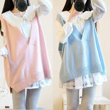 light pink sweater set beige pink blue pastel vest sweater and blouse twinset sp166254