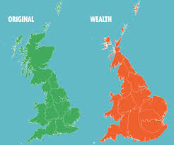 Great Britain World Map by This Is How Weird Britain U0027s Map Looks If You Measure By Money