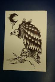 cool black ink vulture tattoo design