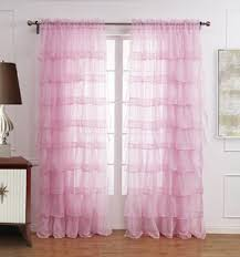 Ruffled Pink Curtains New Ruffle Rod Pocket Organza Window Curtain For Living Room