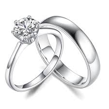 jewelry couple rings images Round cut white sapphire 925 sterling silver couple rings jpg