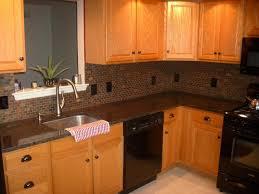 tile backsplash granite countertop u0026 oak colored cupboards