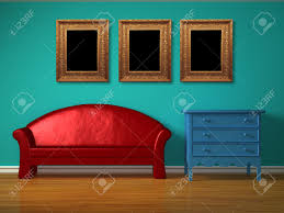 Sofa For Kids Room Red Sofa With Blue Bedside Table In Kids Room Stock Photo Picture