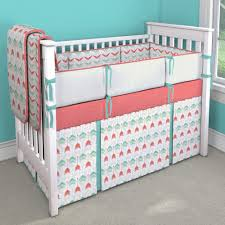 coral and teal arrow nursery idea customizable crib bedding set