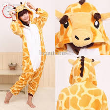 Size Halloween Costumes Men Size Polar Fleece Giraffe Pajamas Jumpsuit Halloween