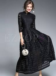 black maxi dress brief black lace stand collar three quarters sleeve maxi dress
