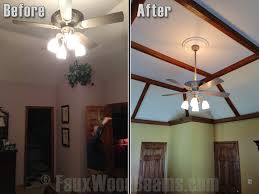 bedrooms with open beam ceilings faux wood workshop before and after photo of a bedroom s tray ceiling with exposed beams added