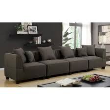 Soft Sectional Sofa Furniture Of America Gray Soft Linen Like Fabric 4pc Sectional