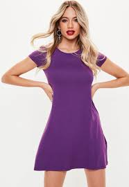 violet dress purple cap sleeve swing t shirt dress missguided