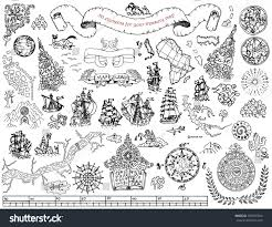 graphic hand drawn elements pirate stock vector 500731054