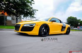 Audi R8 Gold - imola yellow audi r8 v10 plus lowered on strasse forged wheels