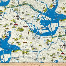 Map Fabric Moda Passport Tokyo Map Multi Discount Designer Fabric Fabric Com