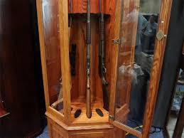 Wood Gun Cabinet Amish Wooden Corner Gun Cabinet From Dutchcrafters