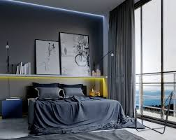 Bedroom With Yellow Accent Wall Bedroom Masculine Bedroom Features Floor To Ceiling Window With