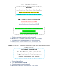 complex sentence worksheet using sub clause by gwoodford