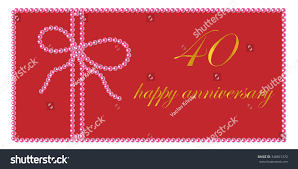 Happy Wedding Anniversary Cards Pictures Happy Wedding Anniversary Card 40 Years Stock Vector 348821372