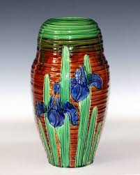 Vase With Irises Awaji Pottery Art Nouveau Carved Iris Vase For Sale At 1stdibs