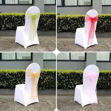 Wedding Chair Sashes 50pcs Lot Garden Banquet Party Organza Fabric Chair Sash Beach