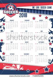 soccer sport football game 2018 calendar stock vector 749805205