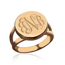 gold monogram ring gold circle signet monogram ring