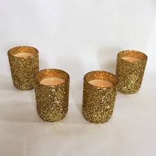 gold glitter votive candle holders candles decoration