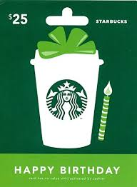 starbuck gift cards starbucks happy birthday gift card 25 gift cards