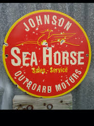 johnson outboard sales and service porcelain sign old outboards