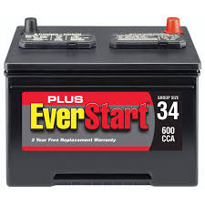 everstart plus lead acid automotive battery group size 34 3