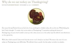 why do we eat turkey on thanksgiving yup we had no idea