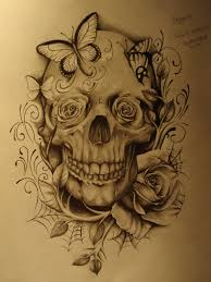 skull with butterflies n roses by thecrowsmadian6sic6 on deviantart