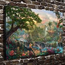 compare prices on wall painting pictures bedroom online shopping h1213 thomas kinkade the jungle book hd canvas print home decoration living room bedroom wall