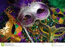 marti gras masks assorted mardi gras or carnivale mask on a purple background